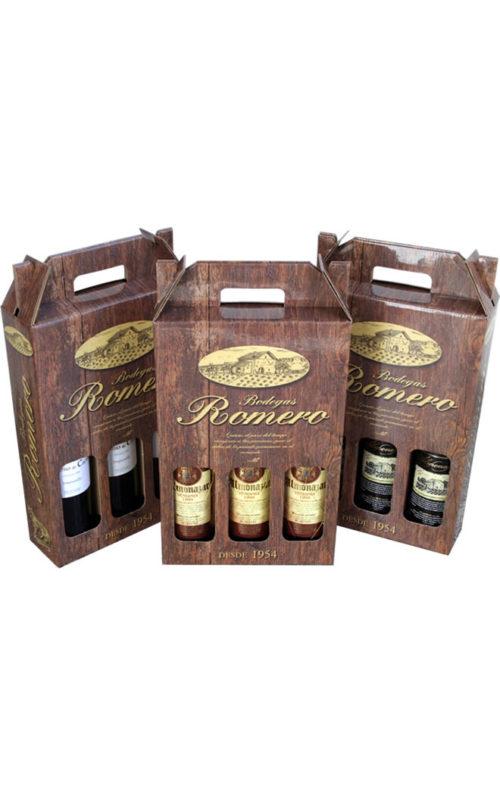Estuches de tres botellas en carton