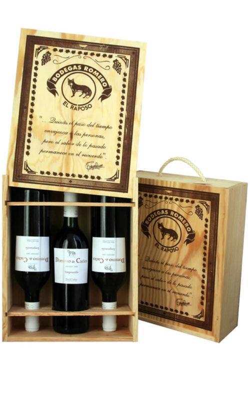 Estuches de tres botellas en madera